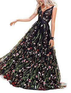 2386cb3662f0a online shopping for Vanial Women s Floral Embroidered Prom Dress 2018  Backless Formal Evening Gown from top store. See new offer for Vanial  Women s Floral ...
