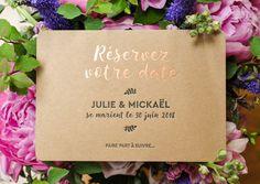 L'Atelier Letterpress - Save the Date de mariage Champêtre en Letterpress et dorure à chaud cuivre // Rustic letterpress save the date with copper hotfoil / Printed with love in France