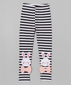 Look at this Leighton Alexander Black & White Stripe Bunny Leggings - Toddler & Girls on #zulily today!