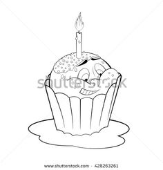 Cartoon cupcake with candle. Coloring page