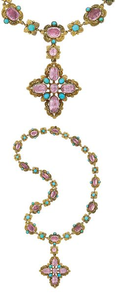 Antique Gold, Foiled-Back Pink Topaz and Turquoise Pendant-Necklace. The necklace composed of foiled-back pink topaz within gold leaves and scrolls, quartered by small gold balls, flanked by turquoises, spaced by turquoises quartered by gold leaves, accented by small gold balls, joined by a flower link centering foiled-back pink topaz, suspending a stylized Maltese cross pendant centering foiled-back pink topaz, quartered by foiled-back pink topaz and turquoises, circa 1830, pendant…