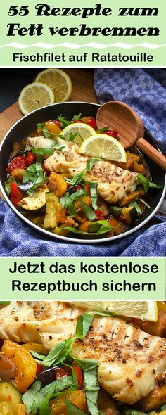 Fish fillet on ratatouille - Clean Body Küche - Kitchen Best Appetizers, Appetizer Recipes, Dinner Recipes, Fish Recipes, Keto Recipes, Healthy Recipes, Zucchini Ravioli, Ratatouille, Clean Eating