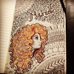 Disney Pixar's Brave Merida drawing with Zentangle background…
