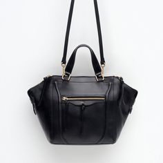 Image 3 of LEATHER CITY BAG WITH ZIPS from Zara