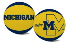 NCAA Michigan Wolverines Alley Oop Youth Size Basketball by Rawlings by Rawlings. $13.29. Youth Size Basketball. High quality vulcanized rubber. Alternating team color panels. Features school colors, team logo and name. While you drive to the basket with this youth-size Michigan Wolverines  pebble basketball, you can feel confident in the quality that has been provided by Rawlings for more than 100 years. The Wolverines logo and Rawlings brand is embossed on the quality in...
