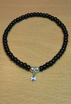 Onyx Bracelet with Sterling Silver Star