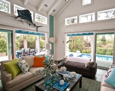 HGTV smart home 2013 in Jacksonville Beach, Florida. Filled with coastal decorations and blue.