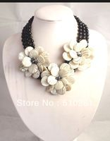 MOON 3500 color shell 3 strands the black agate gemstone with3 pcs flower) free shipping