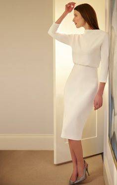 Lauren Dress in Ivory White. Ivory White Pencil Skirt Cocktail Dress with Elbow Length Sleeves. Cocktail Dress Classy Elegant, Simple Cocktail Dress, Elegant Dresses Classy, Cocktail Dresses With Sleeves, Elegant Outfit, Classy Dress, Trendy Dresses, Simple Dresses, Casual Dresses