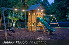 Outdoor Playground Lighting. So this is just a link to lots of ideas for outdoor lighting. But I've seen solar deck lights. Wouldn't it be great to have some lights on the playground? Or maybe not ... kids would be out playing for all hours of the night as well as all day!