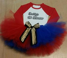 Anything you ssy Puddin !  Adorable Harley Quinn outfit that is sure to make your little ones halloween perfect! Tutu has elastic waist with a cute bow to resemble Harley Quinns studded belt.