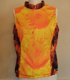 Primal Wear Sunflower G'oil Seeds Cycling Jersey Yellow Womens XL Sleeveless Zip #PrimalWear