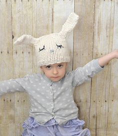 Knit this adorable bunny hat made with Wool-Ease Thick & Quick for Easter! Check out the knit pattern by @MamaInAStitch