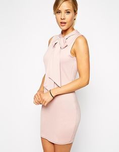 Enlarge ASOS Mini Body-Conscious Dress with Pussy Bow