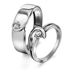 Single Diamond Platinum Love Bands - Twists & Turns of Life Platinum Wedding Rings, Platinum Diamond Rings, Platinum Jewelry, Platinum Engagement Rings, Silver Jewelry, Couple Ring Design, Couple Bands, Engagement Rings Couple, Love Band