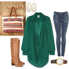 my kind of outfit! skinny jeans, a fabulous flowy top and BOOTS.