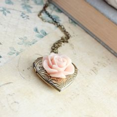 Heart Locket Necklace Pink Rose Shabby Chic by apocketofposies