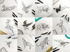 Geometric Beasts Series by kerbyrosanes.deviantart.com on @DeviantArt