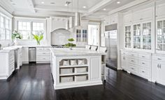 White kitchens gorgeous white kitchen cabinets white shaker kitchen with grey island Dark Kitchen Floors, White Kitchen Cupboards, White Shaker Kitchen, White Marble Kitchen, Wood Floor Kitchen, White Kitchen Island, Kitchen Cabinetry, White Cabinets, Kitchen Flooring