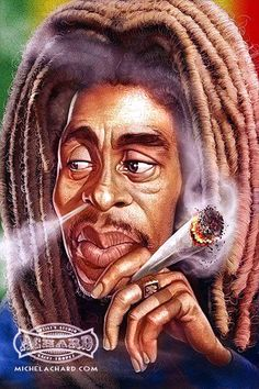Bob Marley by Michel Achard (St Tropez, France) Cartoon Faces, Funny Faces, Cartoon Art, Funny Caricatures, Celebrity Caricatures, Art Rasta, Instalation Art, Marijuana Art, Cannabis Oil