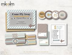 Fly Away Baby Shower Party Printables: Travel Theme by MKKMDesigns