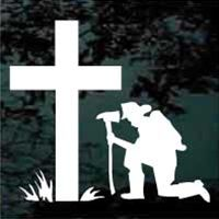 Firefighter praying at the cross decals cut any size and personalized.