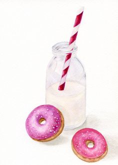 ORIGINAL Small Painting Milk and Donuts White by ForestArtStudio