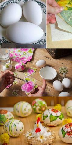 Крахмал, 3 салфетки и… Через час у тебя на столе будет настоящий шедевр! 3d Paper Crafts, Diy Crafts, Shabby Chic Crafts, Egg Decorating, Easter Wreaths, Diy Candles, Recipe Of The Day, Easter Crafts, Happy Easter