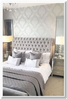 44 exquisitely admirable modern french bedroom ideas 9 ⋆ All About Home Decor Simple Bedroom Design, Luxury Bedroom Design, Master Bedroom Design, Home Decor Bedroom, Modern Bedroom, Interior Design, Silver Bedroom Decor, Bedroom Ideas Grey, Pink And Silver Bedroom