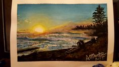 """Water Colour mixed with Inktense. Inspired by a photo my Dad took of the view in front of his hot tub shop in Campbell River BC. #opusdailypractice todays word promt was """" atmosphere"""" I enjoyed painting this scene with the sun setting on the choppy ocean waves with fog like haze along the distant trees on the shore line."""