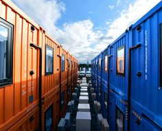 Orange and blue freight containers serve as rooms of a new hotel in Natori, Miyagi Prefecture. (Kengo Hiyoshi)