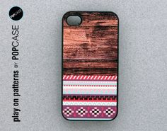 iphone 4 Case - iphone 4 cover - plastic or silicone rubber - aztec geometric print on wood. $14.95, via Etsy.