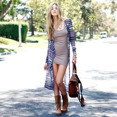Knit Duster Cardigan + Tank Dress + Brown Combat Boots + Leather Handbag