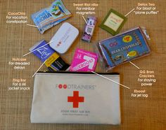 $50 bag filled with travel essentials  $24 bag only  You have a first aid kit for emergencies or injuries, well what about food emergencies? From dreaded delays to vacation constipation we've packed this kit with all our favorite food fixes. No carry on should be without this.  Foodtrainers Food First Aid Kit is perfect for weight conscious globetrotters, and the health nut on your holiday list or just for you.