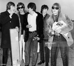 'The Rolling Stones'; (L-R) Charlie Watts, Mick Jagger, Keith Richards, Bill Wyman and Brian Jones, pictured on their arrival at London Airport following a European tour, England, April 6th 1966.