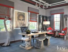 Gray Modern Study with Red Accents