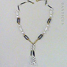 Art Deco Crystal And Black Glass Tassel Necklace.