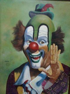 Obra de arte: payaso. payaso. Categoría: Pintura. Técnica: Óleo. Soporte: Tela. Tamaño: 65 x 54. Estilo: Figurativo. Le Clown, Clown Faces, Circus Clown, Creepy Clown, Pierrot, Clown Paintings, Insane Clown, Punch And Judy, Send In The Clowns