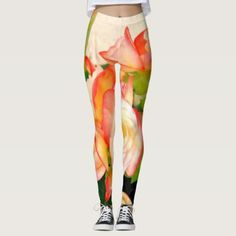 leggins flowers of colors leggings - red gifts color style cyo diy personalize unique