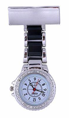 Censi Unisex Plata Diamante bisel negro correa enfermera túnica broche FOB reloj analógico cuarzo batería Extra
