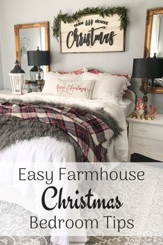 Easy Holiday Bedroom Tips – Hallstrom Home : Cozy Farmhouse Christmas Bedroom with Linen Bedding Christmas Lights In Bedroom, Christmas Bedding, Christmas Home, Christmas Decorations For Bedroom, Christmas Ideas, Xmas, Christmas Cactus, Black Christmas, Christmas Music