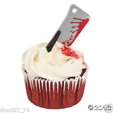 HALLOWEEN Zombie Party BLOODY MEAT CLEAVER PICKS Food Cupcakes Hors D'oeuvres