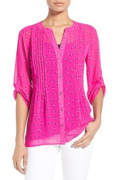 Chaus 'Hibiscus Ditsy' Print Chiffon Pintuck Blouse available at #Nordstrom