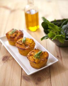 Petits flans de polenta aux carottes et roquefort
