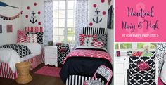 Website packed with preppy dorm room ideas !Nautical Preppy Dorm Room Bedding Anchors and hot pink and navy..LOVE IT!