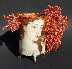 """TRITON VASE"", Irina Zaytceva, Handbuilt porcelain, overglaze painting, 24k gold luster, 6 "" x 7 "" x 2 1/2"""
