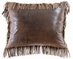 Fringed western decor pillow