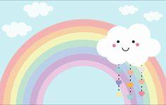 Pastel Rainbow Background, Kids Background, Cloud Party, Vintage Flowers Wallpaper, Baby Dekor, Baby Posters, Rainbow Wallpaper, Boho Nursery, Birthday Pictures