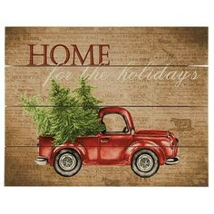Red Truck Wooden Pallet Sign - Home For The Holidays Christmas Pallet Signs, Christmas Truck, Christmas Design, Vintage Christmas, Pallet Projects Christmas, Burlap Christmas, Christmas Images, Christmas Decorations, Christmas Ornaments