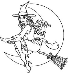 A Beautiful Witch On Her Magic Broom In Halloween Coloring Sheet